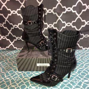 Funtasma Pin Stripe heeled boots size 8